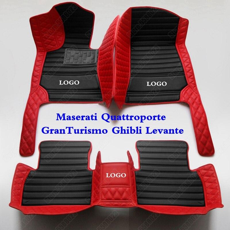 De cuero 3D coche tapetes para Maserati Quattroporte GranTurismo Ghibli Levante accesorios del coche de cuero pie alfombras almohadillas