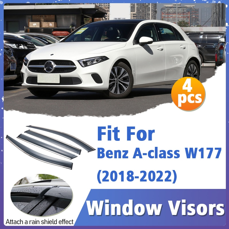 Window Visors Guard for Benz A-class W177 2018-2022 Cover Trim Awnings Shelters Protection Guard Deflector Rain Rhield 4pcs