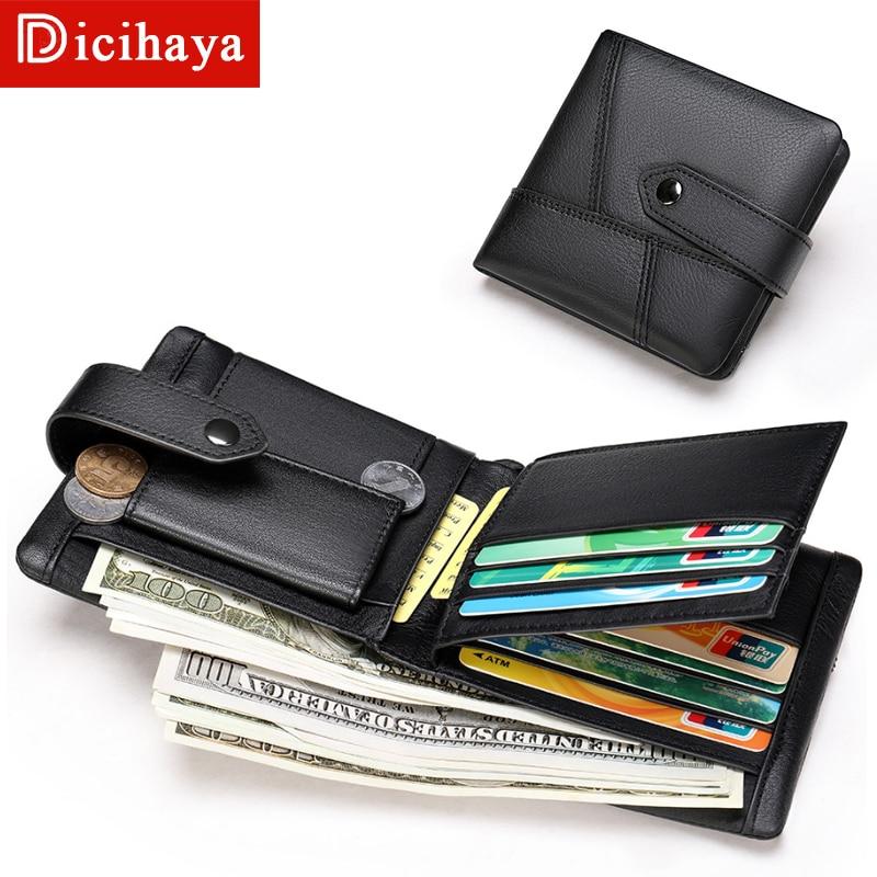DICIHAYA Genuine Leather Wallet Men New Brand Purses for Men Small Mini Black Brown Bifold Wallet Zipper Coin Purse Wallets