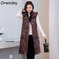 orwindny 2021 new long waistcoat women winter cotton warm vest jacket snow wear office lady hooded parkas sleeveless high street