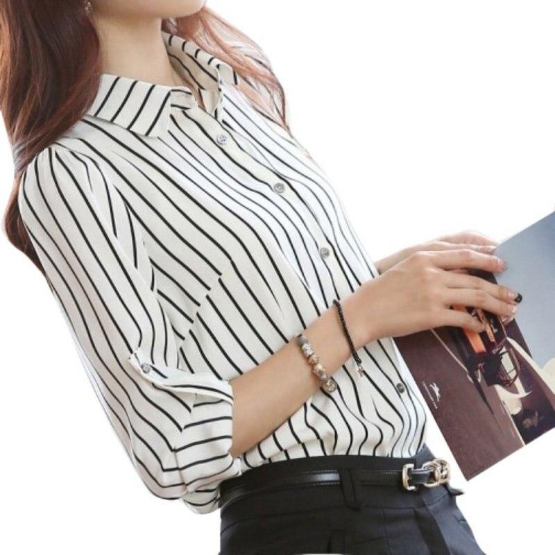 ¡Novedad de otoño-Verano! Blusa de rayas verticales informal para mujer, Camisa ajustada de manga larga, Top a la moda de rayas marinas, blusa tipo camisa para mujer