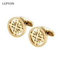 hot sale 18k gold plated crusaders cufflinks lepton stainless steel round cufflink for men wedding business cuffl links gemelos