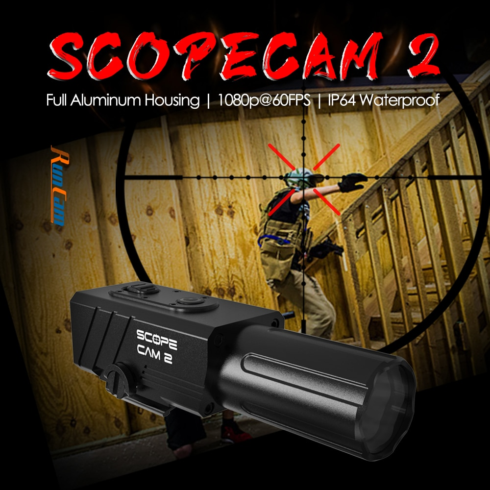 RunCam ScopeCam 2 Scope Camera Cam Airsoft Paintball Hunting Gel Ball Full Aluminum Housing IP64 Water Proof WiFi APP Setting