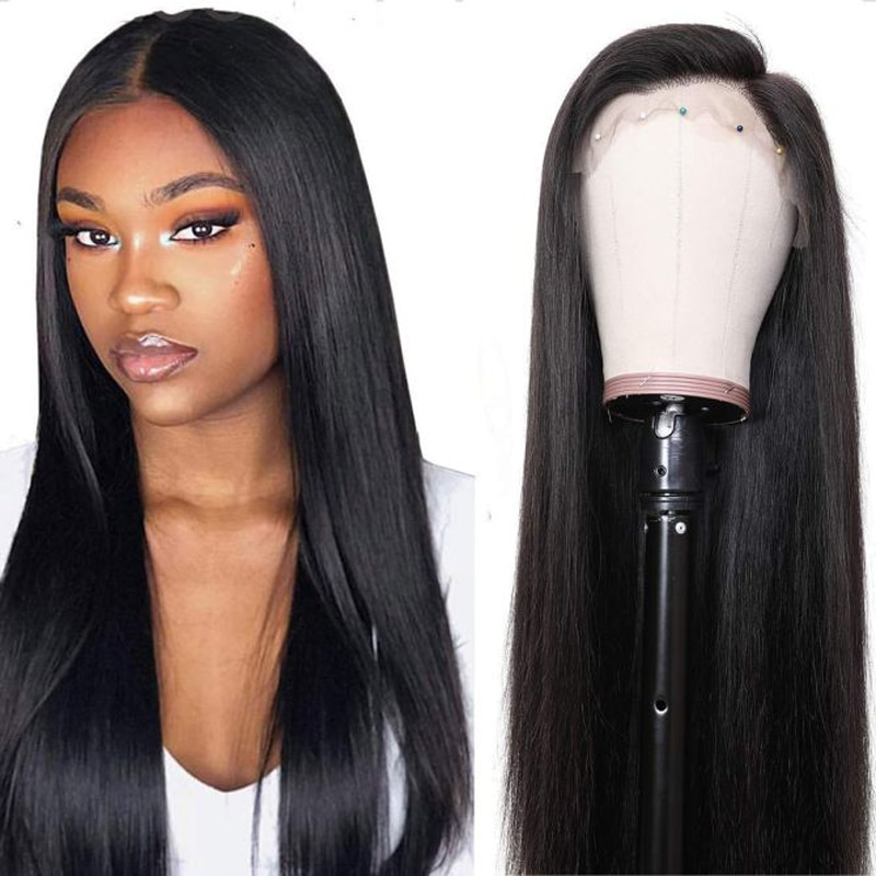 YMS Straight Human Hair Lace Wigs Brazilian Remy Hair Lace Front Wigs For Black Women Narural Black Pre Plucked With Baby Hair maxglam lace front human hair wigs for black women straight pre plucked with baby hair brazilian remy hair natural color