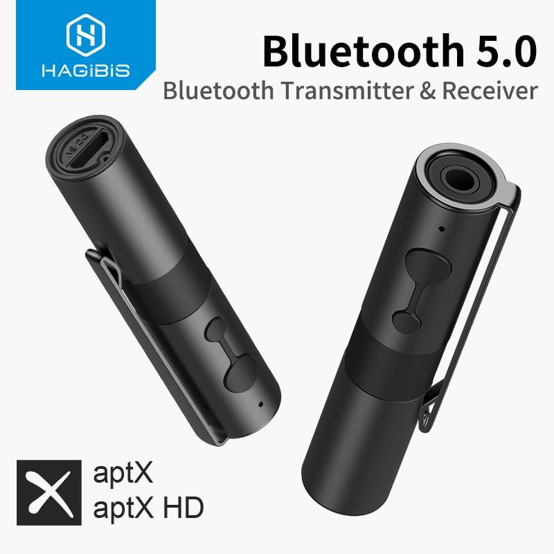 Hagibis-جهاز إرسال واستقبال Bluetooth 5.0 ، 2 في 1 ، مقبس 3.5 مللي متر ، Aptx ، محول لاسلكي ، AUX ، للتلفزيون ، سماعات الرأس ، الكمبيوتر الشخصي ، السيارة ، Nintendo