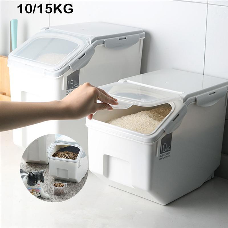 Casa arroz balde de armazenamento flip arroz cilindro selado moistureproof farinha organizador plástico multi-funcional caixa de armazenamento