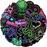 50pcs neon light cartoon affiti stickers bike fridge luggage cool waterproof decal neon stickers luminous for kid children