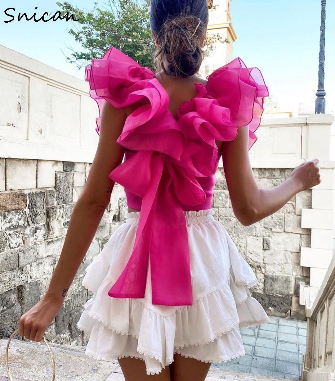 الصيف بلوزة شيفون المرأة شفافة الأورجانزا الوردي نفخة كشكش كم عودة القوس بلوزة مثير ضئيلة قصيرة القمم أنثى mujer za new