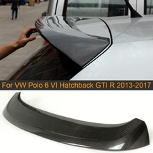 Carbon Fiber Car Rear Roof Spoiler Wing Lip for Volkswagen VW Polo 6 VI Hatchback GTI R 2013 - 2017 Rear Roof Spoiler Boot Lip