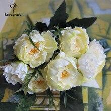 Flores de peonías artificiales de seda, 8 cabezas, para boda, decoración artesanal, pequeñas, peonías, Mini flores falsas para decoración del hogar