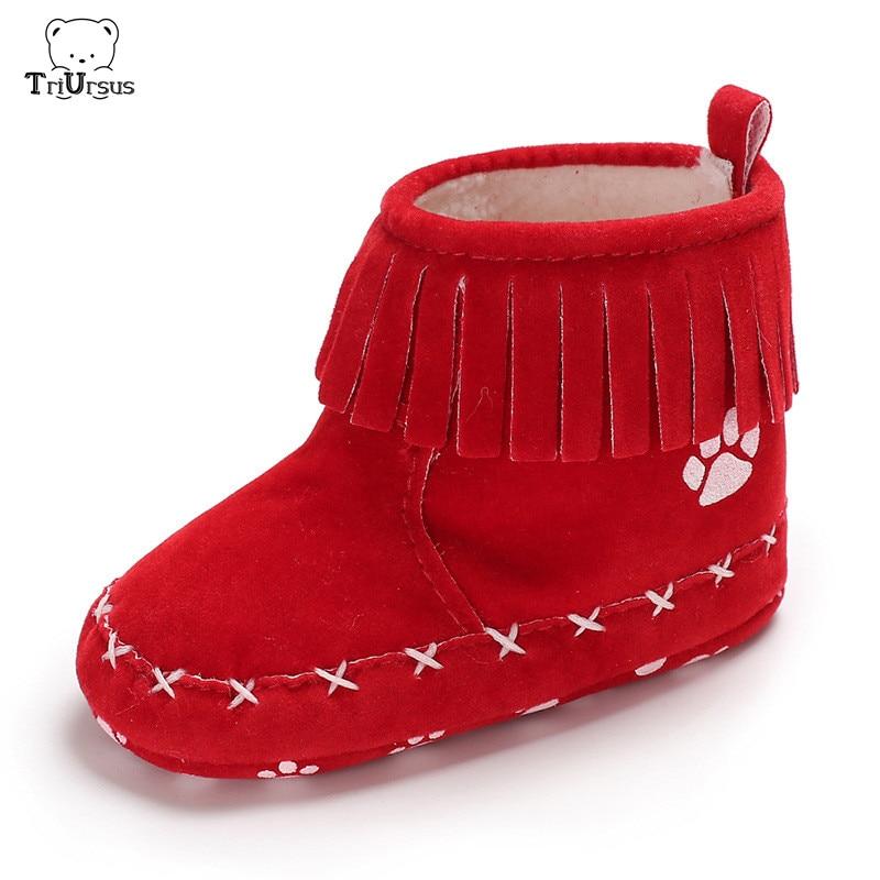 Bebê recém-nascido menina menino sapatos quentes botas de neve toddle franja botas de inverno botas vermelho preto macio sola do bebê meninas borla botas
