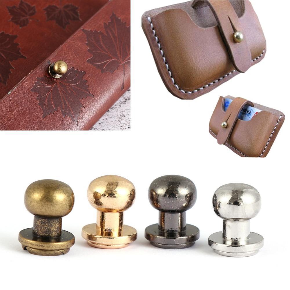 10 Uds. Remaches para uñas de latón macizo tornillos de cabeza de monje cinturón de cuero artesanal WalletBags accesorios tachuelas Botón de ropa