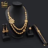 aniid gold plated jewellery necklace copper set for women ethiopian nigeria african bridal pakistani bracelet wedding arabe 24k