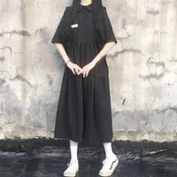 summer womens dress party dresses japan college short sleeved casual midi dress gothic y2k robe femme clothing evening dresses