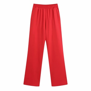 YENKYE New Fashion Women Elastic High Waist Red Wide Leg Pants Female Autumn Long Trousers pantalones de mujer