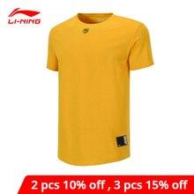 Li-ning-Camiseta de baloncesto de la serie BAD FIVE para hombre, 100% holgada con forro de algodón Li Ning, camisetas deportivas de manga corta, AHSP101 MTS3095