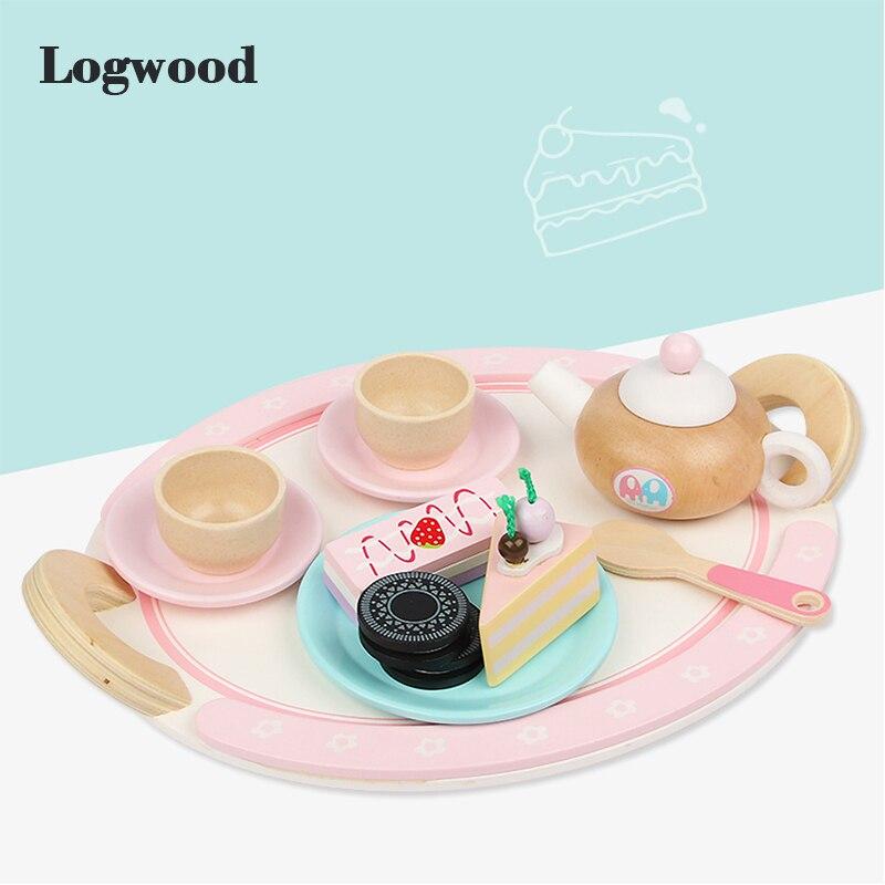 Vraie vie en bois cuisine jouets ensemble de thé vraie vie jouer maison éducatif Cosplay jouet vaisselle cadeau