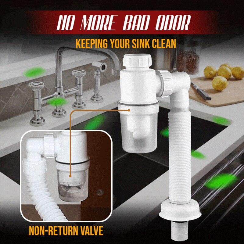 Doppel Anti-geruch Abflussrohr Geruch-freies Abflussrohr für Küche Bad Waschbecken Waschbecken C66