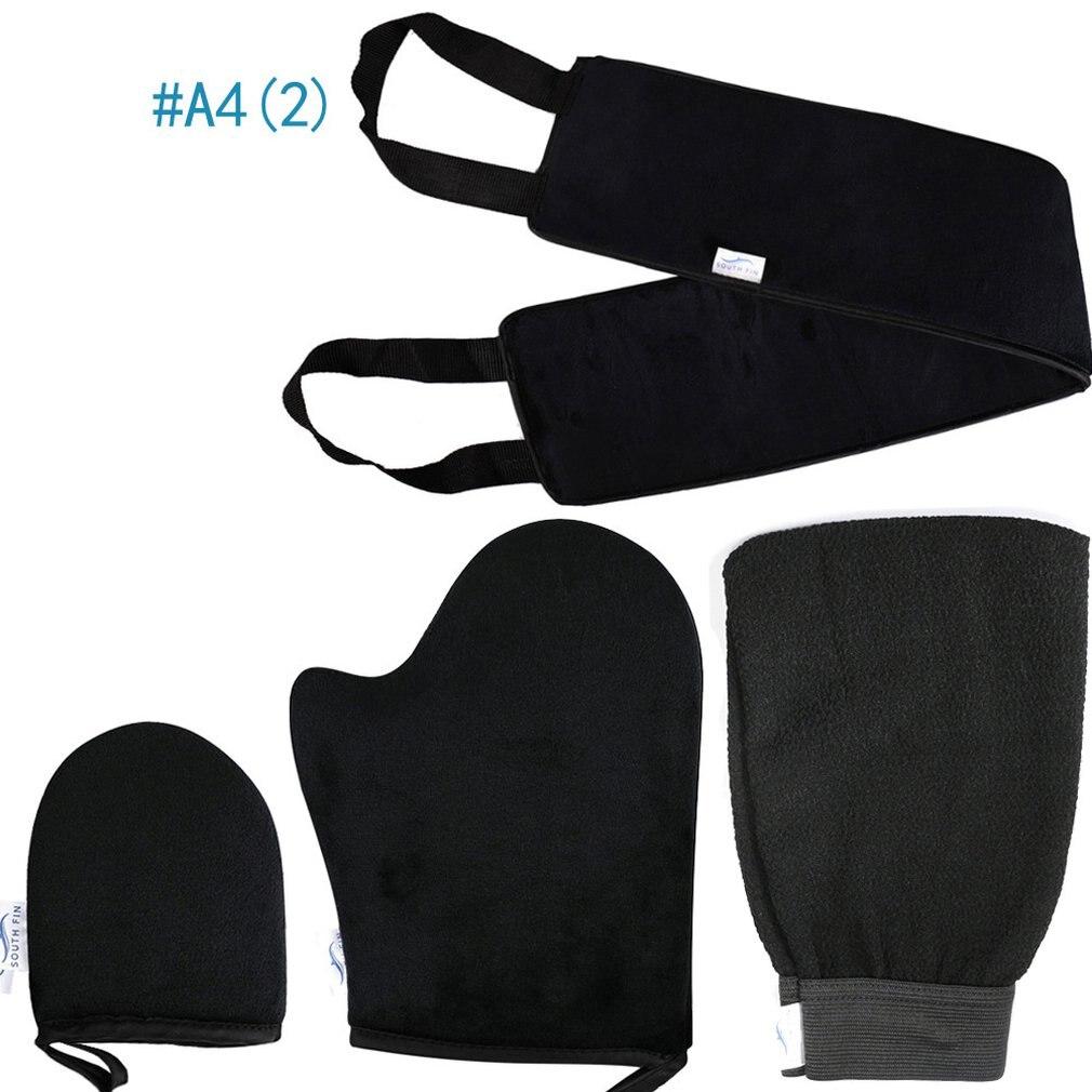 Flocado de La dermoabrasión de frotando toalla bronceado aceite Color flocado guantes atrás Personal conjunto para cuidado corporal