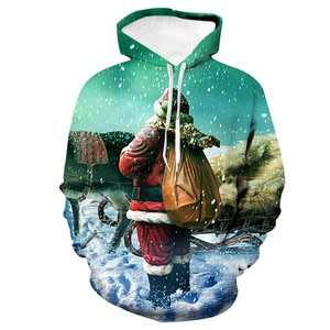 Unisex Christmas Santa Claus Back 3D Digital Print Loose Hooded Sweater Pullover Women Men New Year Baseball Sweatshirt Hoodie