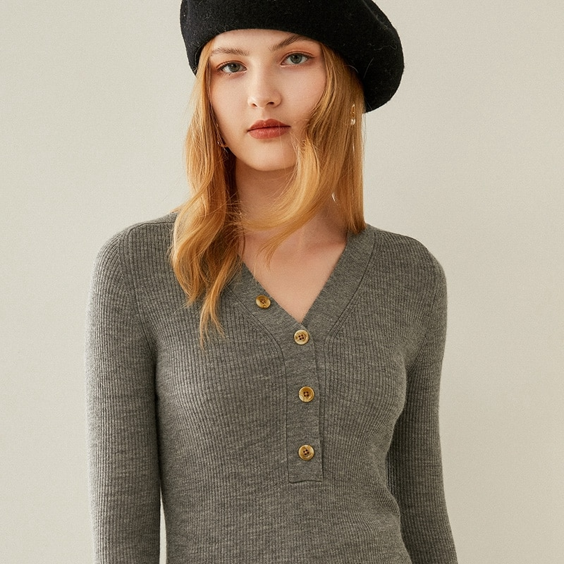 Tailor Shop Custom Made Autumn and Winter New Style Fine Imitation V-neck Button Short Cashmere Sweater Women