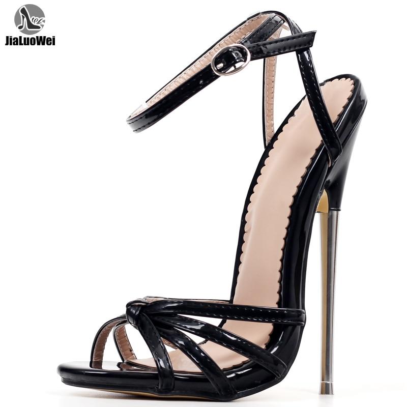 صنم-صندل نسائي بكعب عالٍ بإبزيم معدني ، حذاء بمقدمة مدببة مع حزام كاحل ، للجنسين