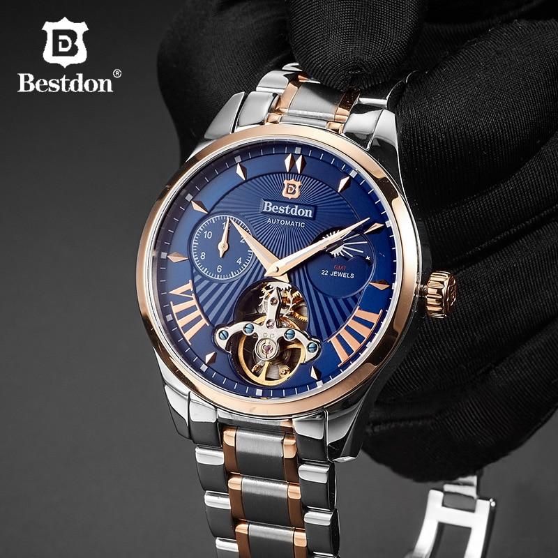 Bestdon Original Tourbillon Watch Men Automatic Mechanical Sport Luxury Brand Leather Waterpoof Man Wristwatch Relogio Masculino