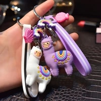 2021 new product cartoon epoxy alpaca keychain female creative bag leather string pendant school bag hanging buckle small gift