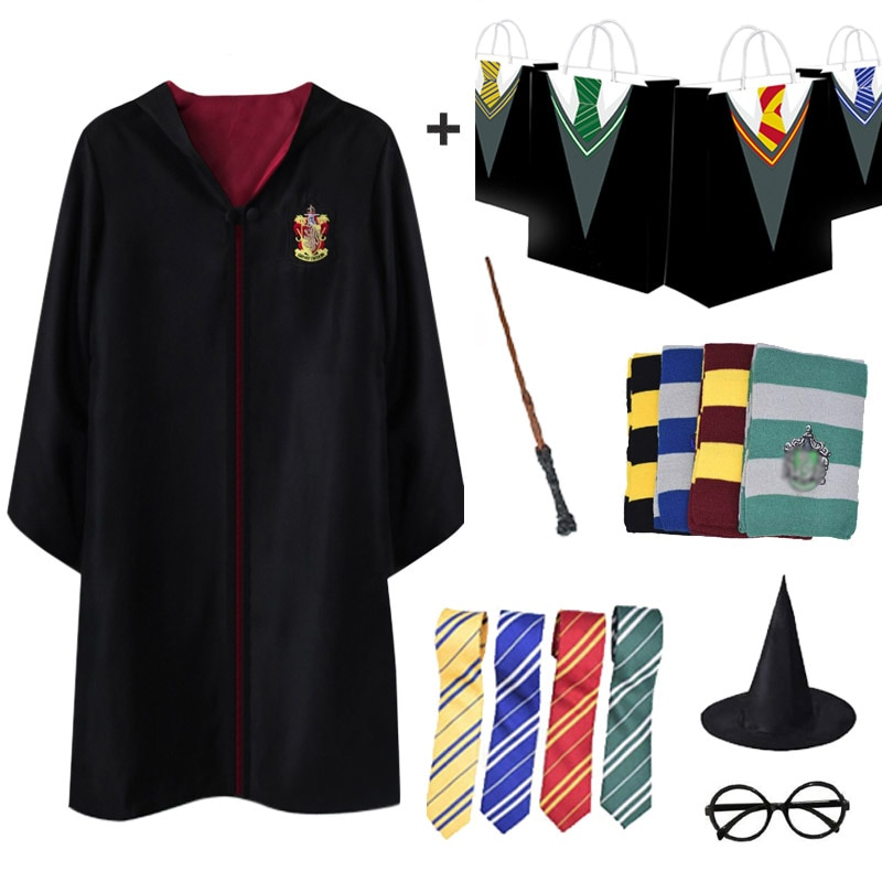 Bolsa de regalo bata mágica traje capa Potter Cosplay trajes Hogwarts capa uniforme Halloween