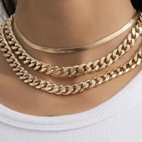 3pcsset multilayer copper flat snake chain clavicle necklace womens punk cuban thick aluminum necklaces glamour girl jewelry