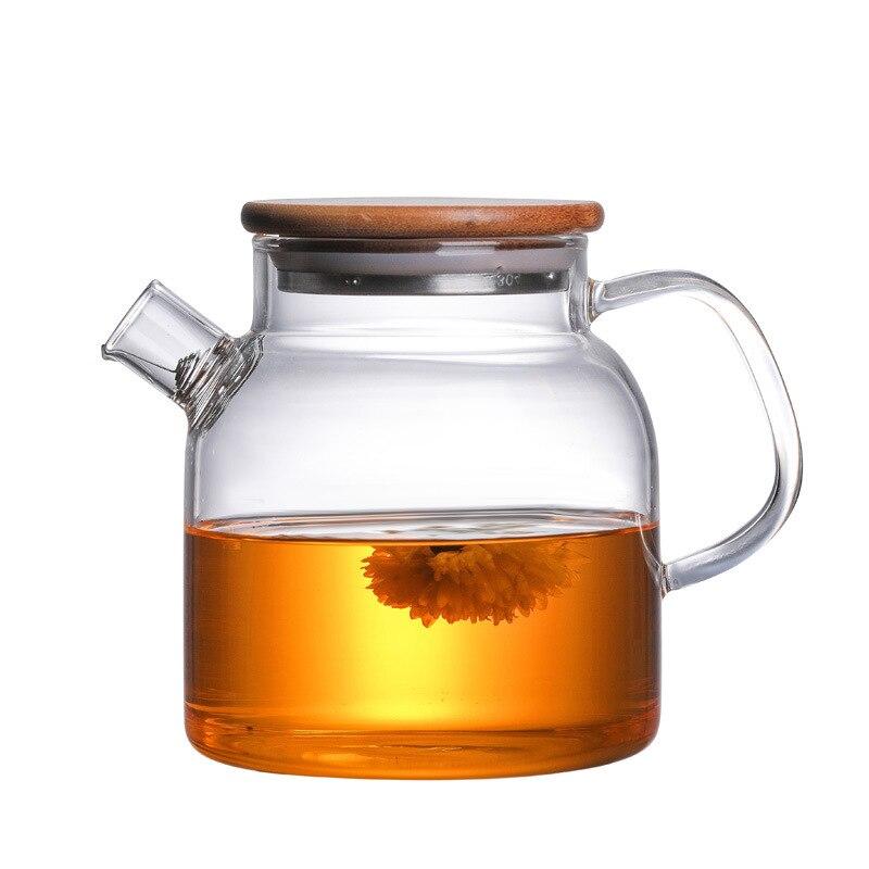 Tetera de vidrio de borosilicato grande y transparente, 600ml, 1L/1,8l, resistente al calor, maceta transparente grande, juego de flores, hervidor de agua, herramienta para el hogar y la Oficina
