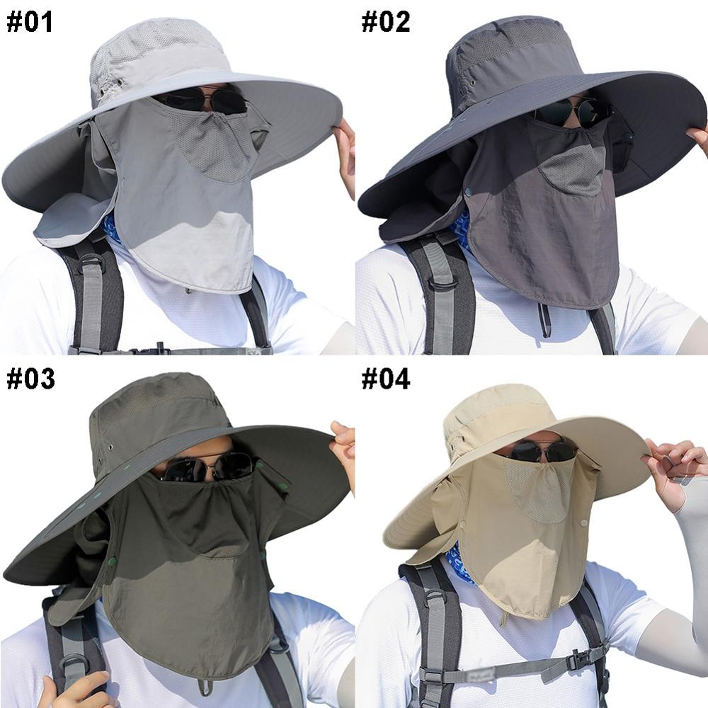 Outdoor Unisex Flap Cap Wide Brim Sunshade Windproof Quick Drying Face Mask Neck Cover Fisherman Bucket Hats enlarge