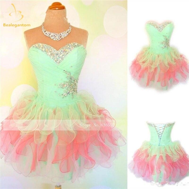 Bealegantom-فستان قصير أورجانزا مع تقويرة ، فستان حفلة تخرج ، 2021