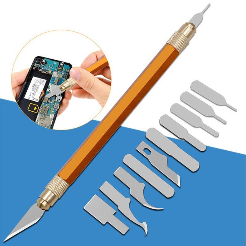 13 unids/set de cuchillas, cuchillo de escultura artesanal de acero con mango, plantilla de tallado, cortador de papel DIY para reparación de teléfonos, marca de sello