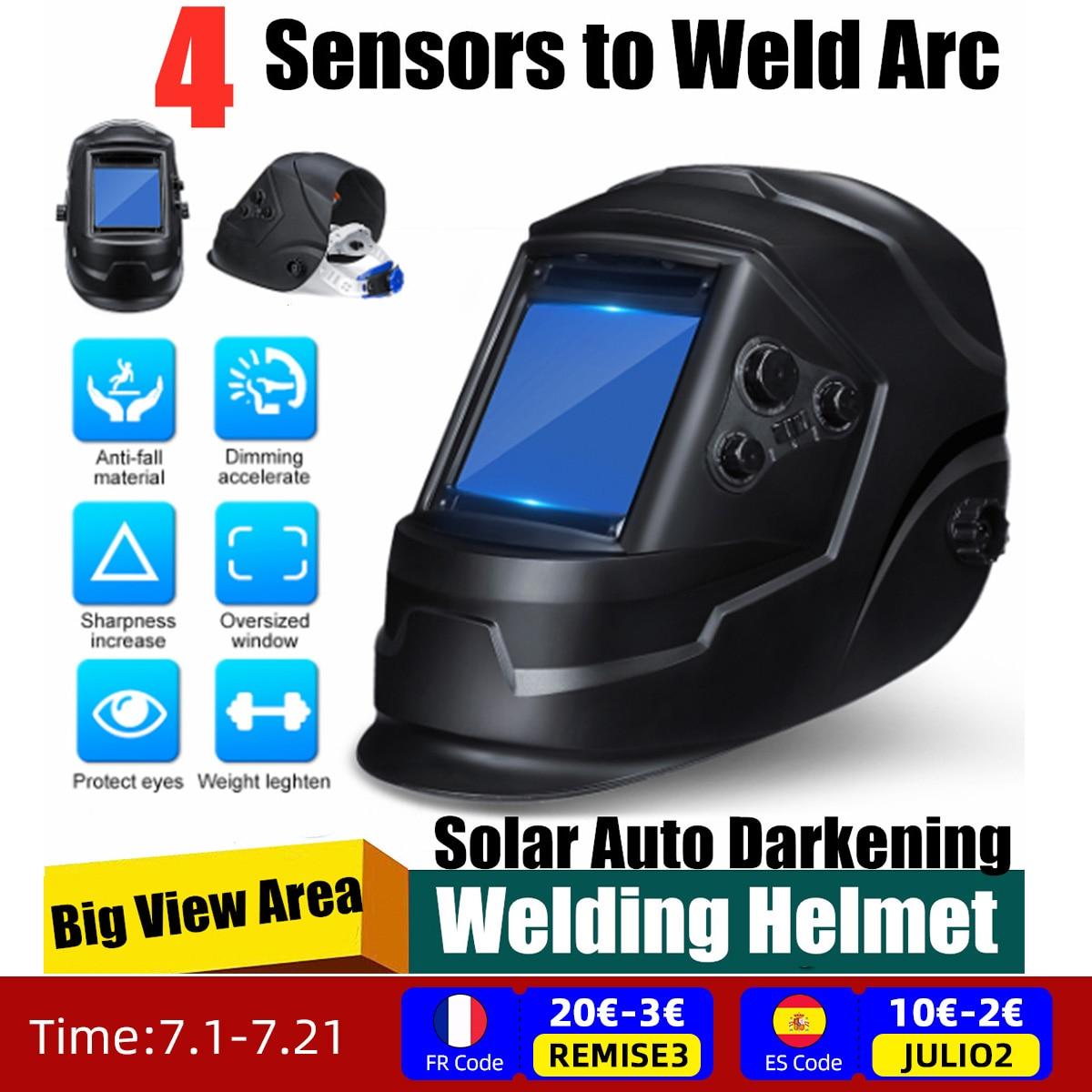 TIG MIG MMA قناع لحام خوذة لحام غطاء عدسة الوجه الطاقة الشمسية السيارات سواد لحام خوذة عرض كبير 4 قوس الاستشعار DIN5-DIN13