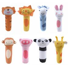 Baby Rattles BB Sticks Soft Animal  Plush Doll Crib Bed Hanging Hand Catches Animal Toy Soothing Dol