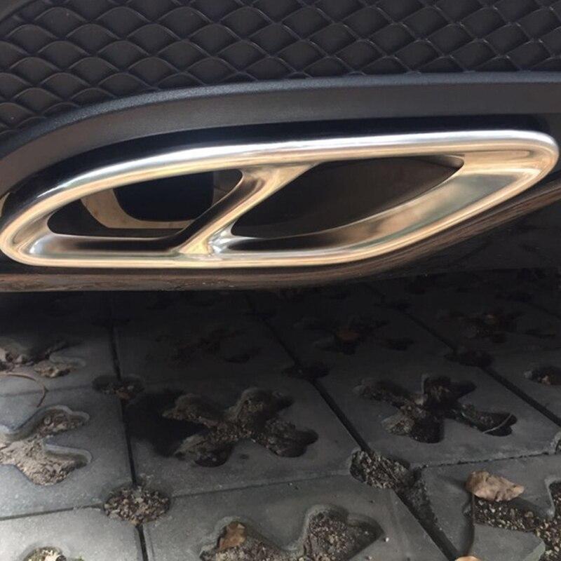2 uds cubierta de molduras de marcos de garganta de cola de coche de acero inoxidable para Mercedes Benz A B C E clase W176 W246 W205 GLC GLE GLS Accesorios