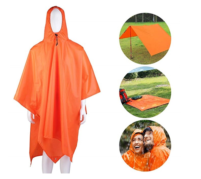 Man Military Impermeable Raincoat Waterproof Rain Coat Women Cycling Rain Cover Outdoor Survival Tarp Poncho Camping Tent Mat