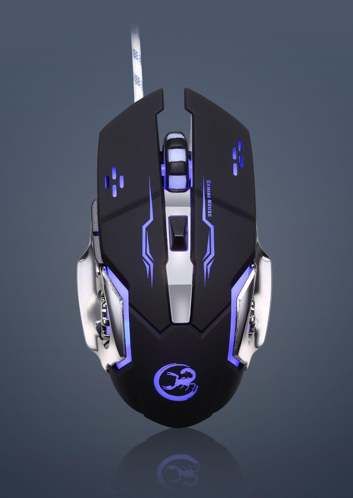 Usb-кабель Bloodbat, фотоэлектрическая игровая мышь с 6 клавишами, люминесцентная дыхательная лампа, проводная мышь для геймера
