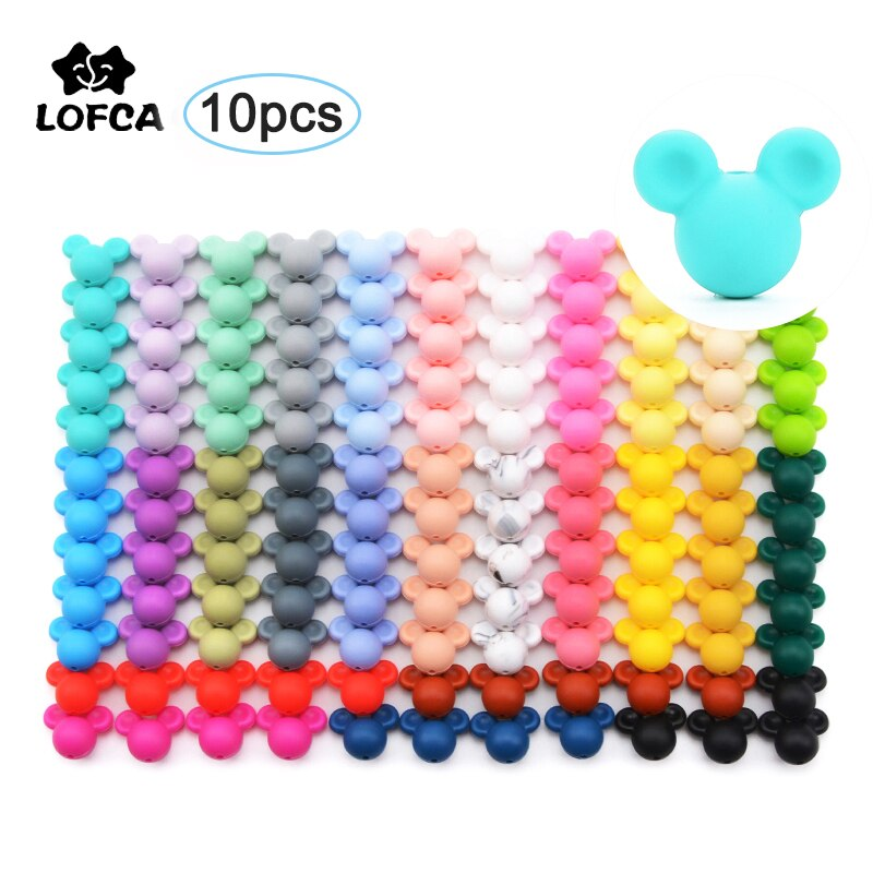 LOFCA 10pcs Silicone Teething Mouse Beads Baby Teether Beads Food Grade Silicone Beads BPA Free DIY Necklace Pendant Making