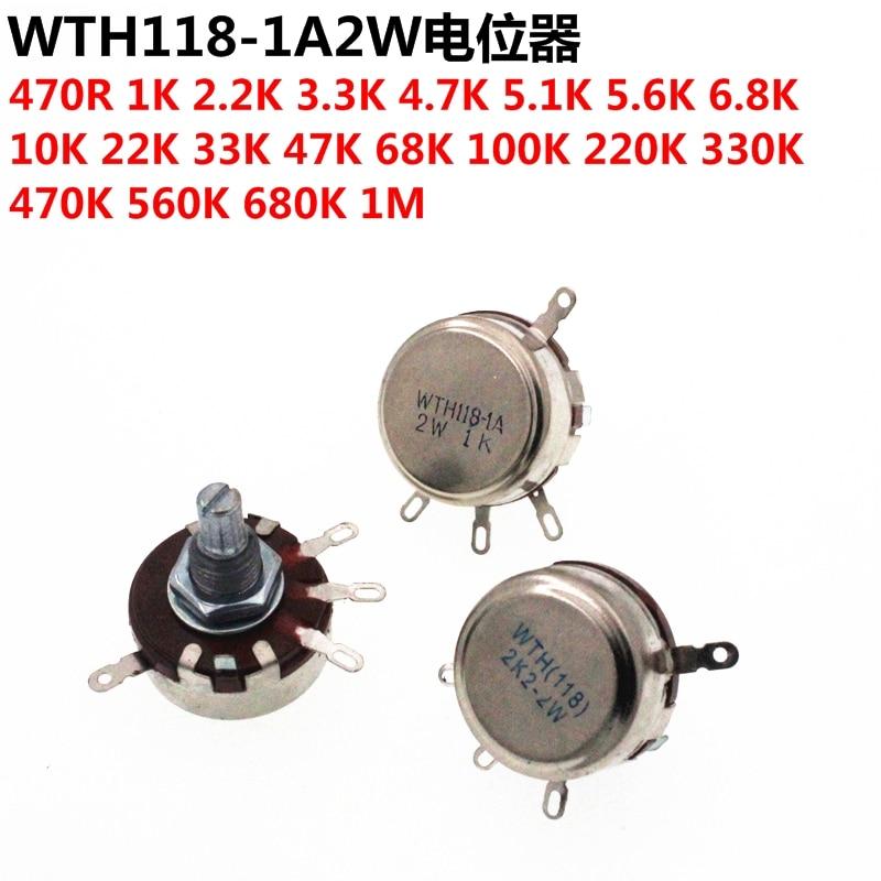 5 PCS Potentiometer WTH118-1A 2W 1 K/2.2/4.7/10 K/22/47/100/470 K Single Loop Carbon Film