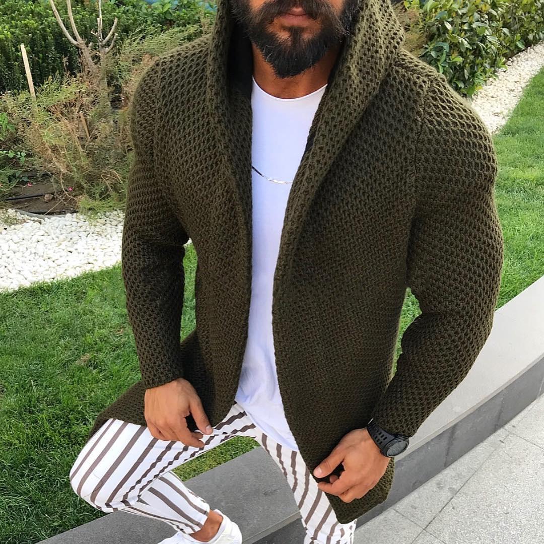 Осень-зима 2021, модные свитера, мужские облегающие кардиганы, одежда, однотонное хлопковое шерстяное повседневное пальто, трикотаж