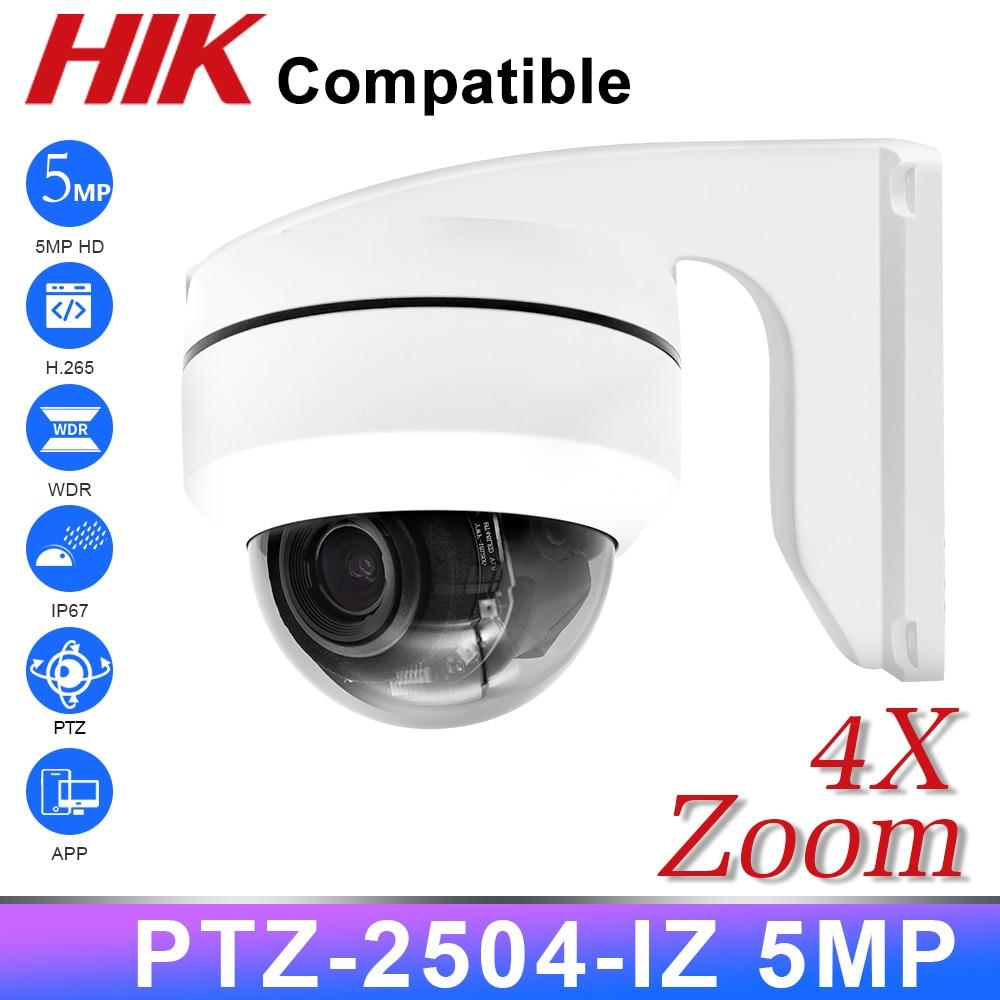 PTZ 5MP 4X купольная POE IP камера 2,8 мм-12 мм CCTV камера безопасности IR H.265 P2P Plug & play с Hikvision NVR IK10
