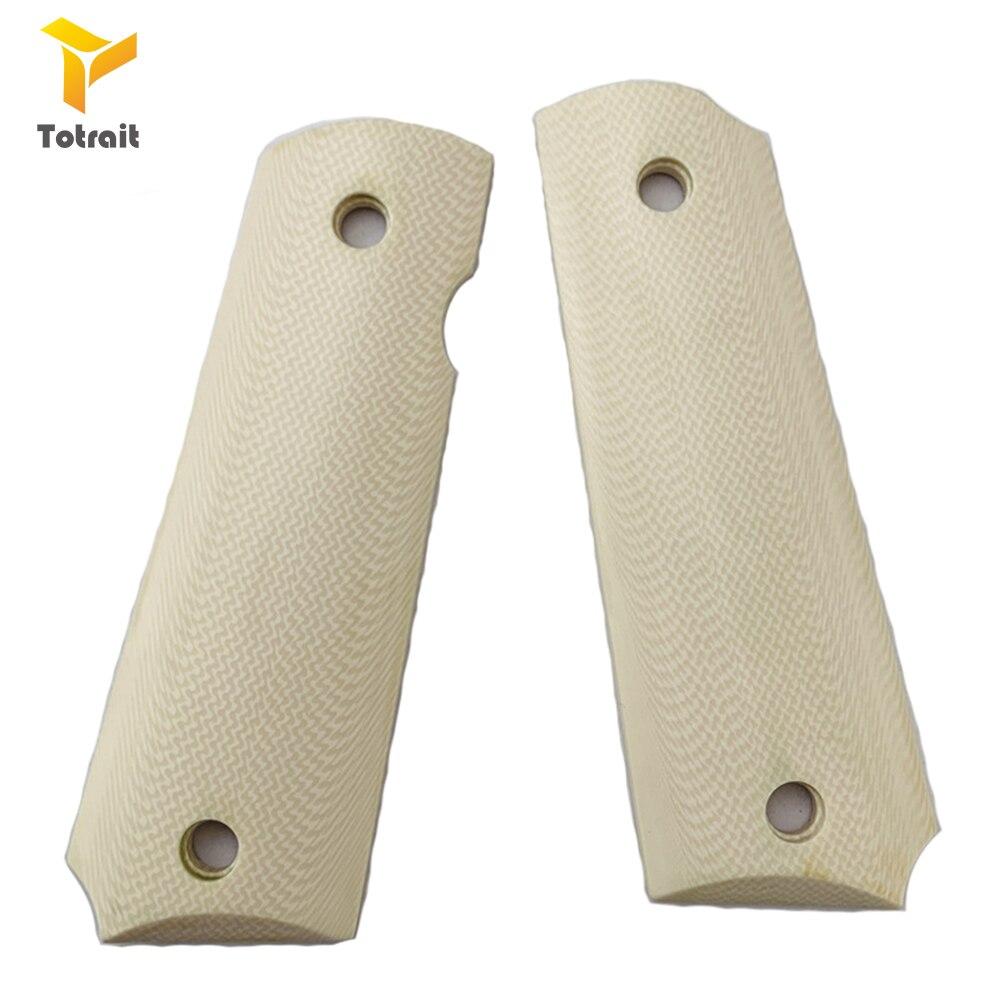 TOtrait 1 par colt 1911 profesional G10 mangos de cuchillo parche texturizado Material DIY escamas antideslizantes espacios en blanco Para 1911 empuñaduras 2 uds