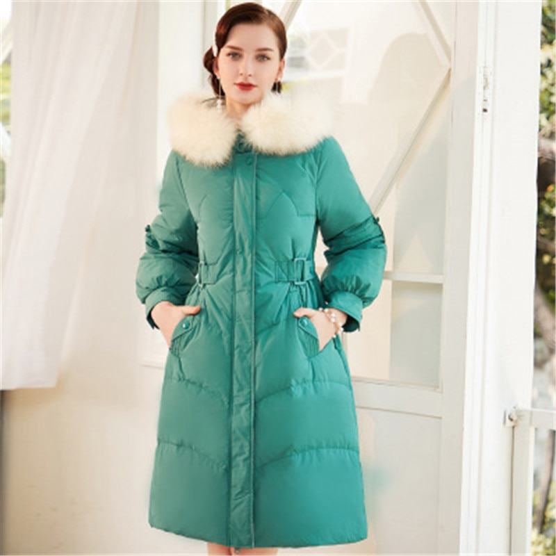 Down Jacket Women's Long Section 2020 New Winter Down Slim Body Hair Collar Waist Large Size White Duck Down Ladies Coat 886