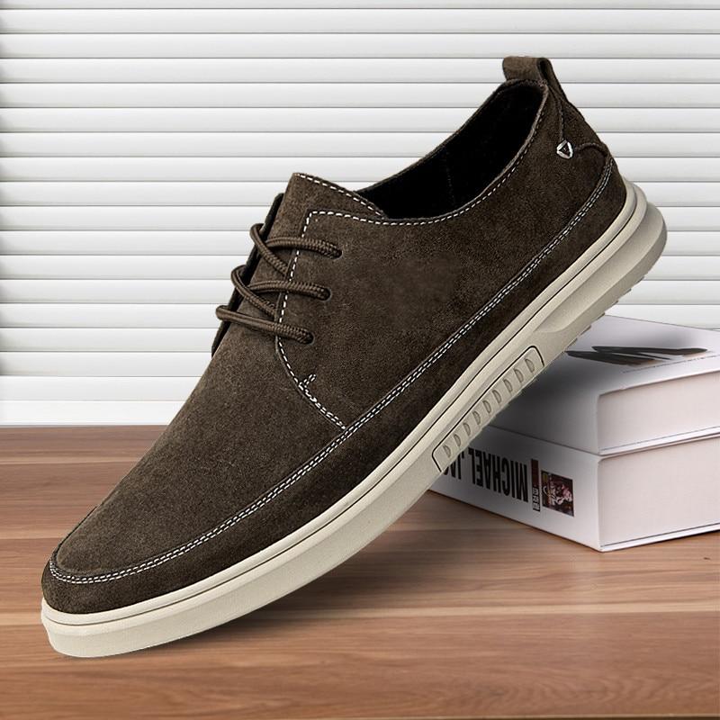 حذاء رجالي جلد مدبوغ عالي الجودة جلد أحذية ناعمة حذاء كاجوال رجالي ربيع برباط نمط أحذية رياضية رجالية