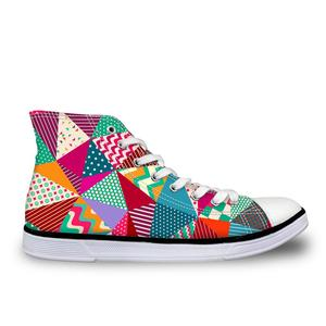 HaoYun Women Vulcanize Shoes Colorful Square High top Canvas Sneakers Girls Lace-up Casual Walking Shoes Autumn Sapato Feminino