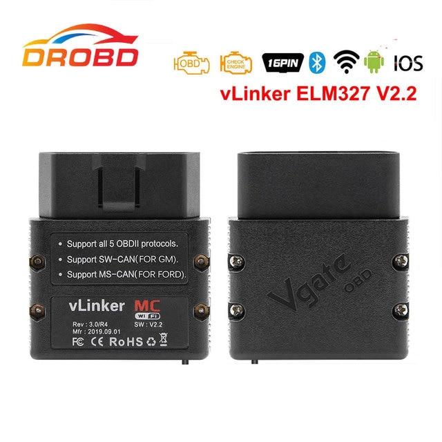 Vgate vLinker MC + ELM327 V2.2 Bluetooth 4,0 Wi Fi OBD2 сканер для Android/IOS PK OBDLINK ELM329 работает для bshimcode Forscan