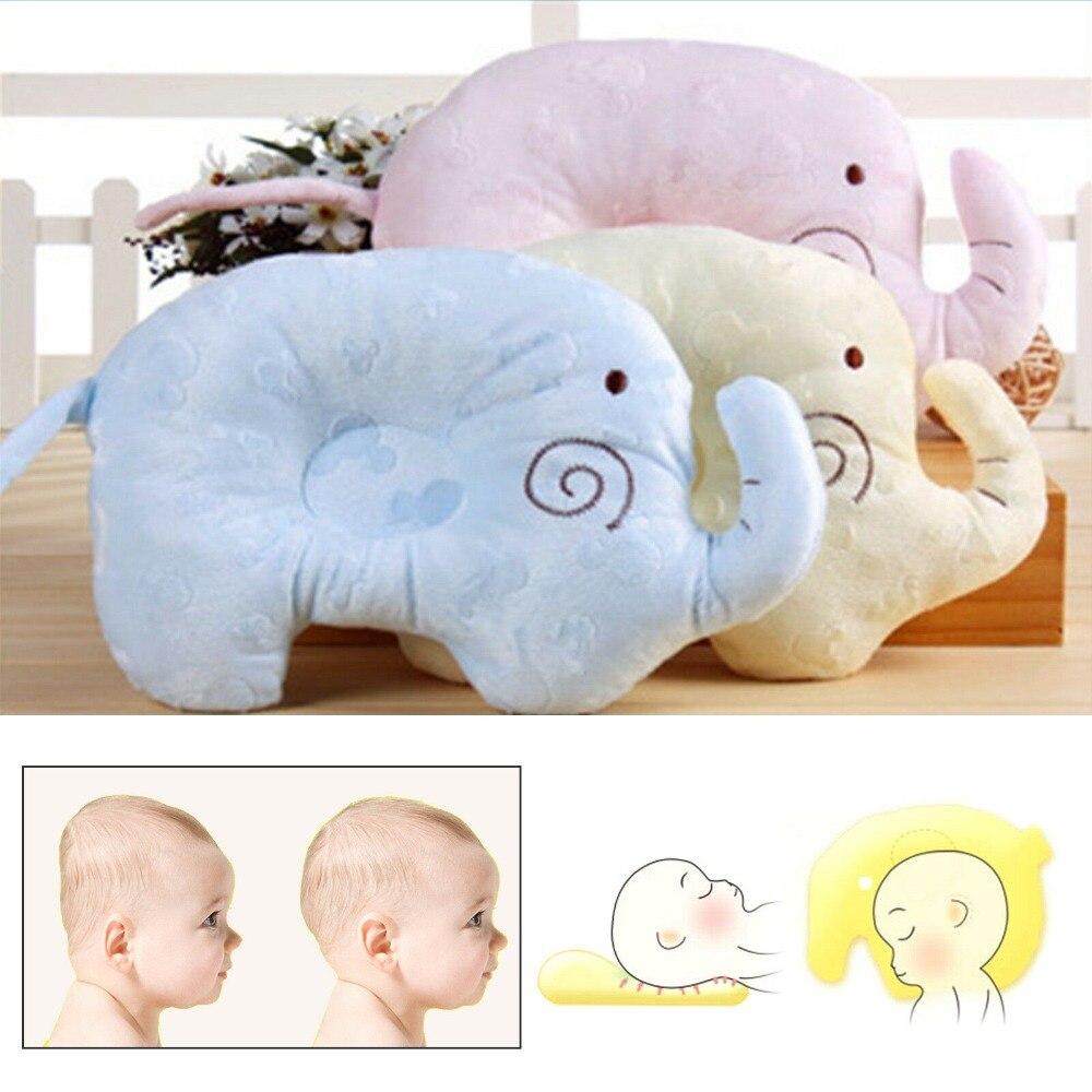 Almohada de algodón con memoria para bebés recién nacidos, almohada de cabeza plana Anti-rollo, posicionador saludable, soporte para bebé, elefante, regalo