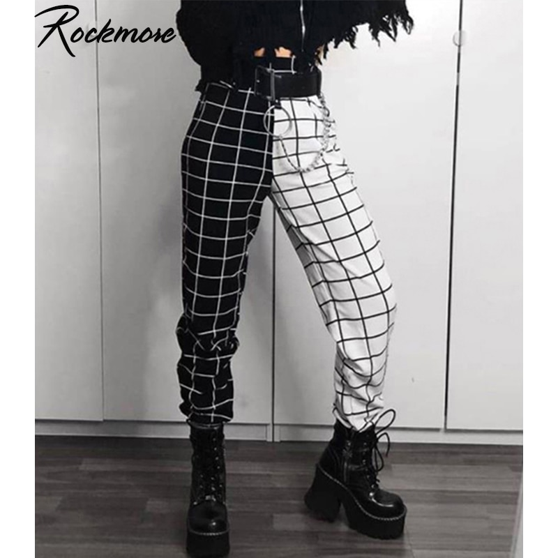 Rockmore contraste cor xadrez lápis calças das mulheres cintura elástica xadrez plus size casual joggers streetwear